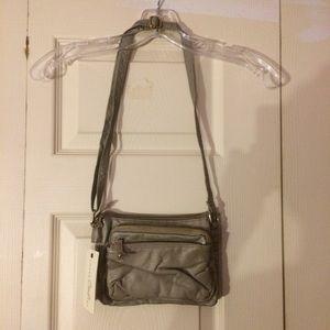 Gray Under One Sky multi-pocket cross-body purse