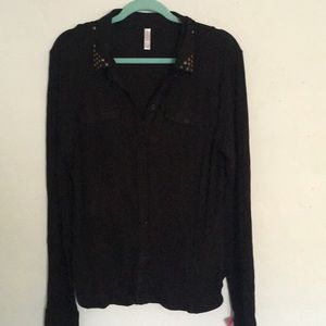 Studded Collar double pocket button down NWT