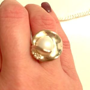 QVC pearl and sterling ring