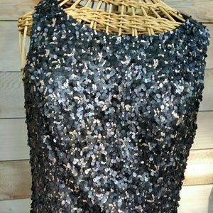 Black and Gold Micro Sequin Dress by Sue Wong