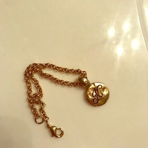 """Gold plated """"N"""" initial bracelet"""
