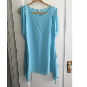 Foley + Corinna Turquoise silk dress XS