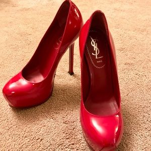 YSL Tribute Red Patent Leather Platforms