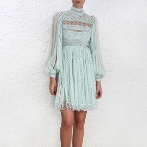 Zimmermann Green mint Rhythm Spiral Empire Dress