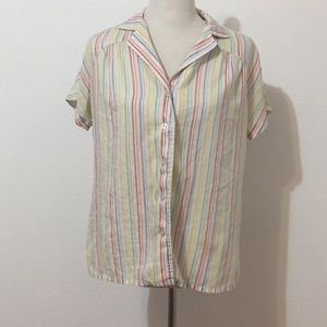 Tops - Vintage primary striped button down