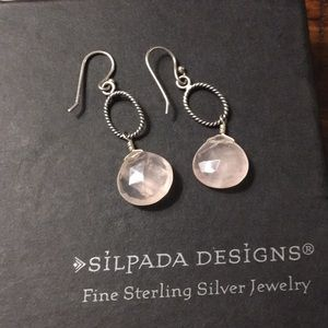 Silpada rose quartz earrings. Pretty pink color!