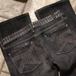 7 4 ALL MANKIND 28 or 29 grommet distressed jeans