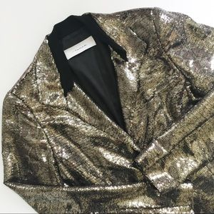 T. Tahari Soraya Sequined Jacket in Gold Leopard