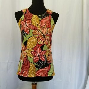 CABLE & GAUGE GOLD GREEN ORANGE FLORAL TANK M