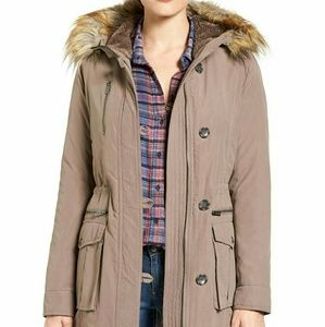 Rachel Roy Faux Fur Trim olive Army Parka Small