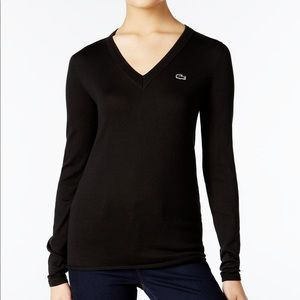 Lacoste V-neck Cotton Sweater, size 40 / US 6