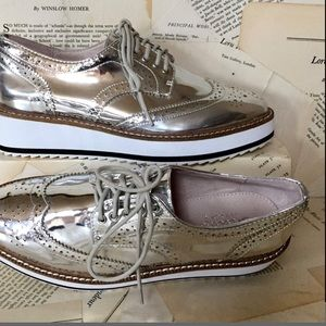 Free People Shellys Silver Mirror Leather Shoe