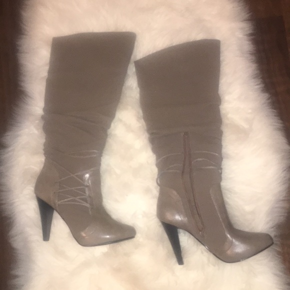65fb3a25710 jasmin Shoes - Grayish Taupe Colored Knee High Boots with Heel
