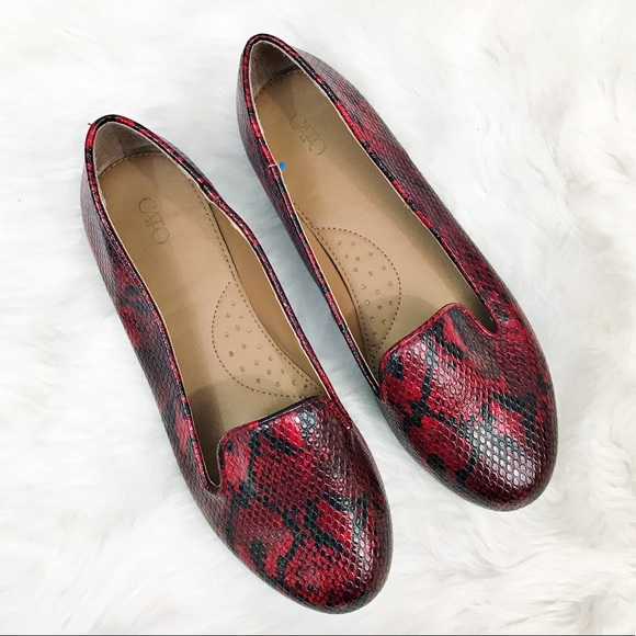 Cato Shoes - SALE Cato • Red Snake Print Loafers