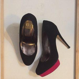 DOLCE VITA black suede Heels w/ Pink Platform