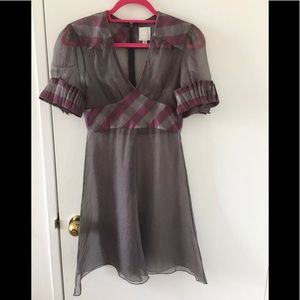 Anna Sui See Through Plaid Print Puff Sleeve Dress