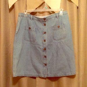 Button-Down Jean Skirt