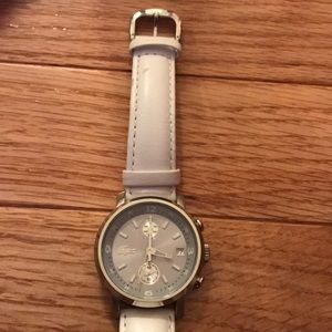 Lacoste Silver Watch Face with White Leather strap