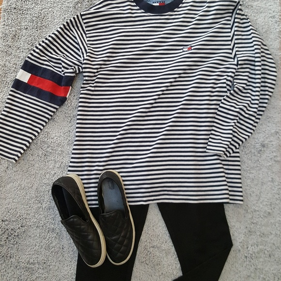 bbc16c914 Tommy Hilfiger Tops | Logo Striped Long Sleeve Tee | Poshmark