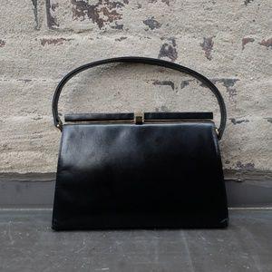 Vintage Black Doctor Bag Purse