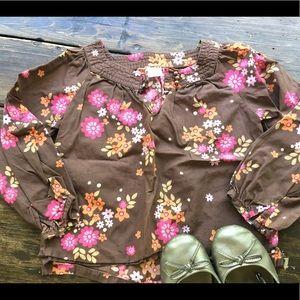 Carter's Linen Blouse Floral Girls 4/5T