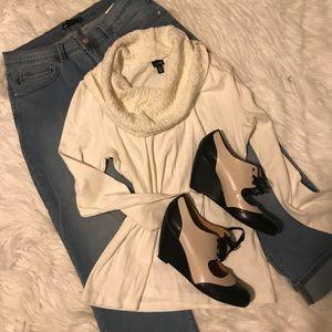 Rafaela white knit cowl neck sweater.