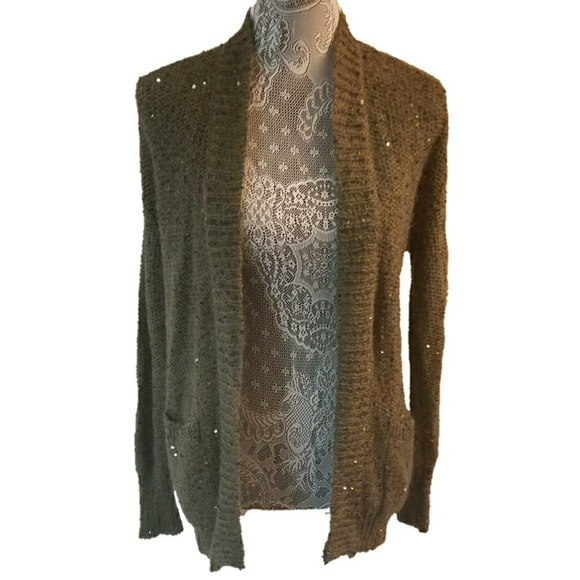 66% off Express Sweaters - EXPRESS olive green sequin glitter ...