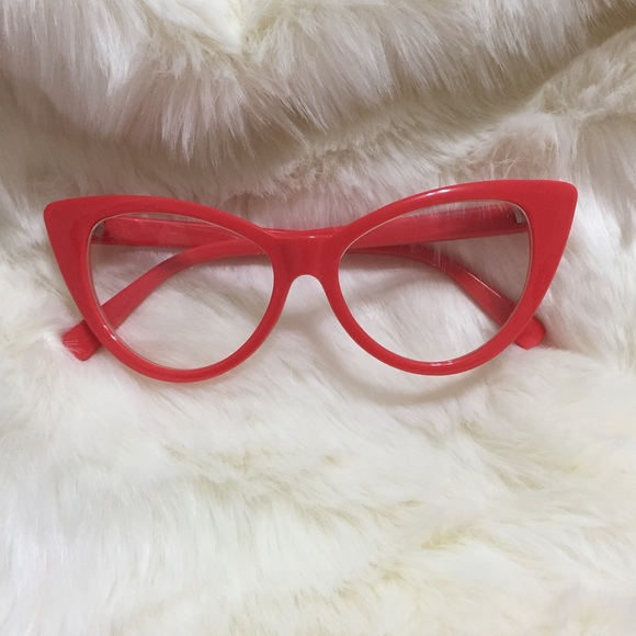 68b631fbbbe Accessories - Red Cat Eye Costume Glasses