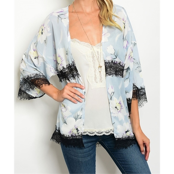 golden threads Sweaters - Baby Blue Lace Floral Kimono