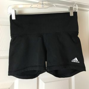 "SMALL ADIDAS CLIMALITE 3.5"" HIGH WAISTED SHORTS"