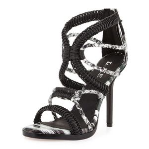 L.A.M.B printed, black and white woven sandal