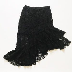 Zara high-low lace skirt