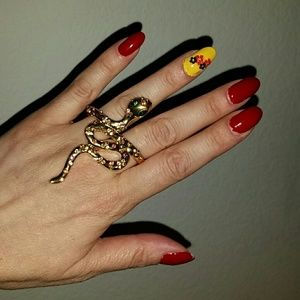 Jewelry - Gold plated crystals double ring snake reptile