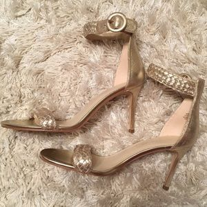 Marc Fisher Ankle Strap Gold Leather Sandal Heels