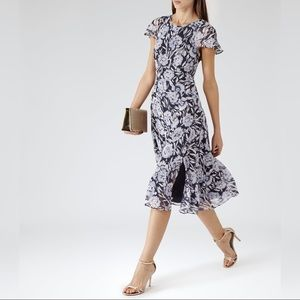 Reiss Paintedbloom Floral-print Midi Dress
