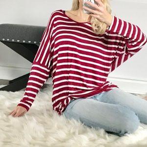 Tops - Crimson striped front twist top