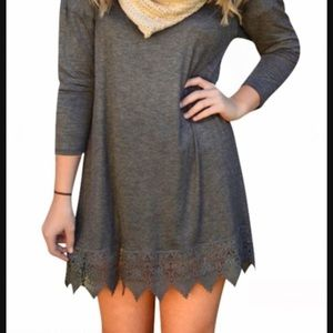 OASAP Lace Hem Boho Burgundy Dress Long Sleeve NEW