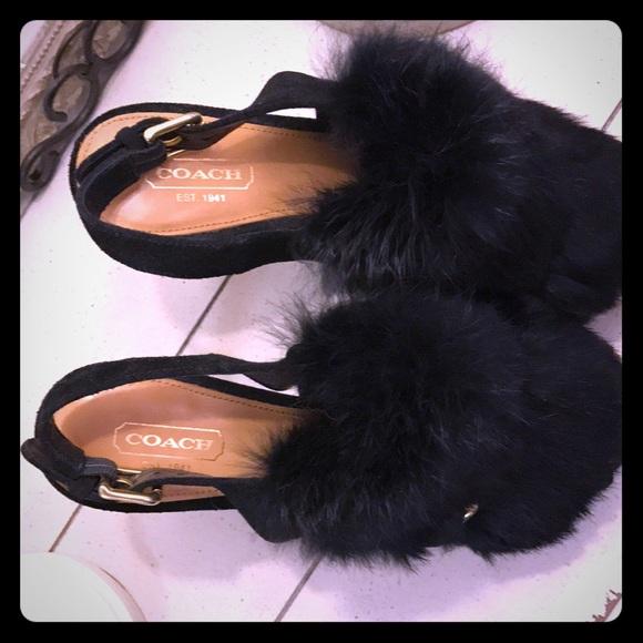 Coach Shoes - Coach rabbit fur peep toe heels