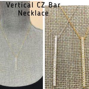 zoky doky Jewelry - .925 SS Vertical CZ Bar Necklace, NWT