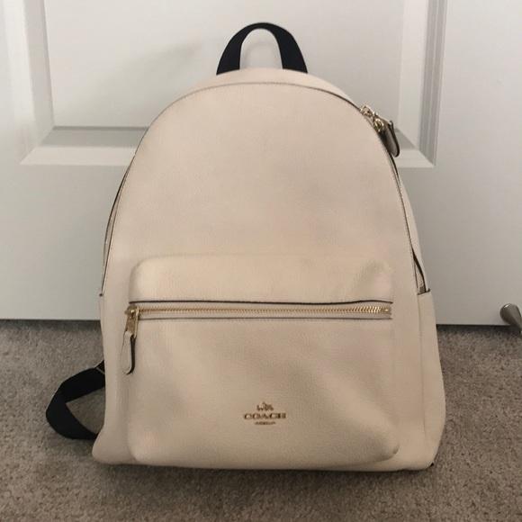 de665498f Coach Bags | White Leather Backpack | Poshmark
