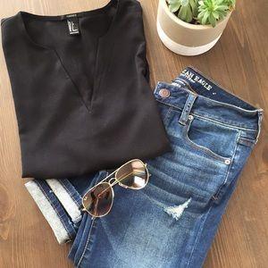 Tops - B A S I C Black Blouse