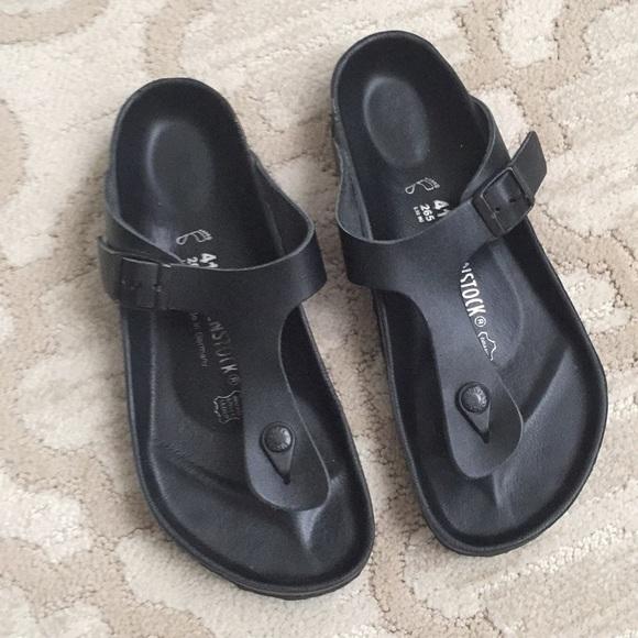 46e8c2aa453 Birkenstock Shoes - Birkenstock Gizeh Exquisite Black Leather Sandals