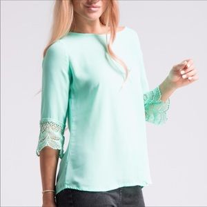 Tops - LAST ONE!⚡️Mint Crochet Sleeve Blouse NWT⚡️