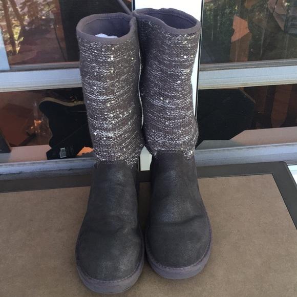 92698efc408 Authentic Ugg Gunmetal Suede, Sequin Knit Boots