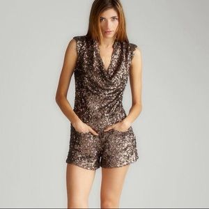 French Connection Bronze Gold Sequin Romper