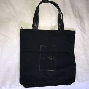 Handbags - Black Canvas Tote with Zipper closure