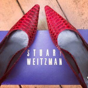 Stuart Weitzman vintage red lizard slingback heels