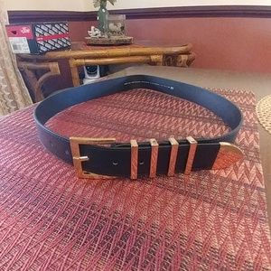 H&M black belt size small gold buckle New