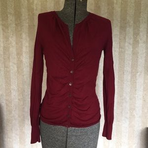 The Limited deep red cardigan sweater.