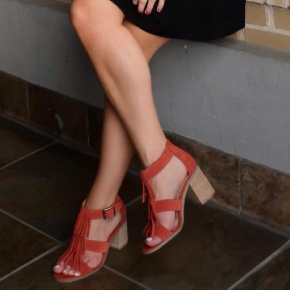 be5e3f4a8f0 Sole Society Delilah Paprika Fringe Sandals. M 59b5585cc2845609bd0444ea